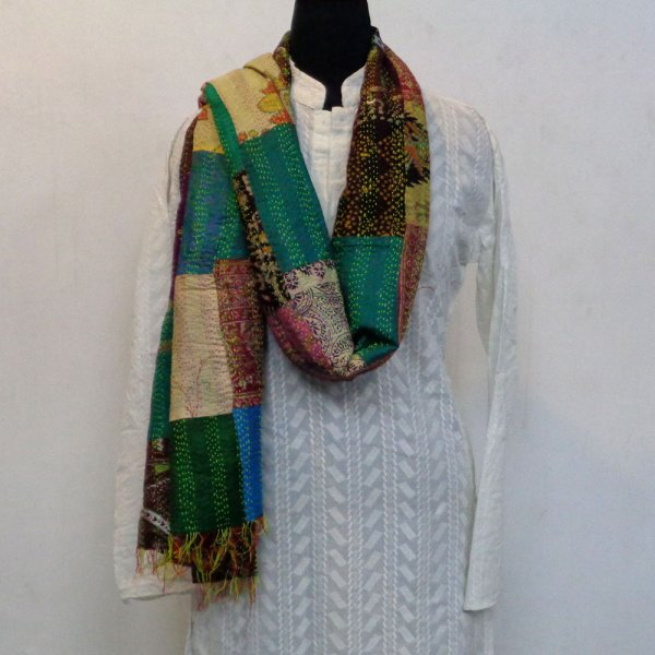 Hand Embroidered Cotton Kantha Silk Stole (Reversible) | 102322