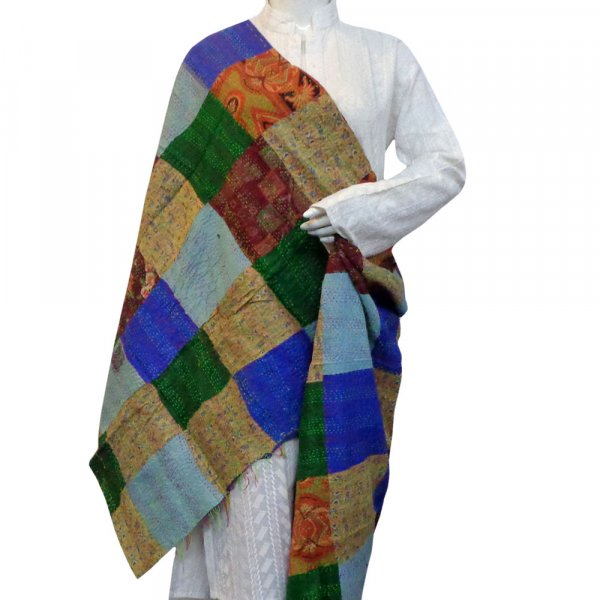 Hand Embroidered Cotton Kantha Silk Stole (Reversible) | 204601