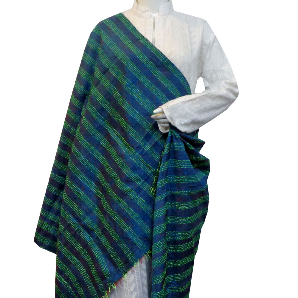 Hand Embroidered Cotton Kantha Silk Stole (Reversible) | 204625