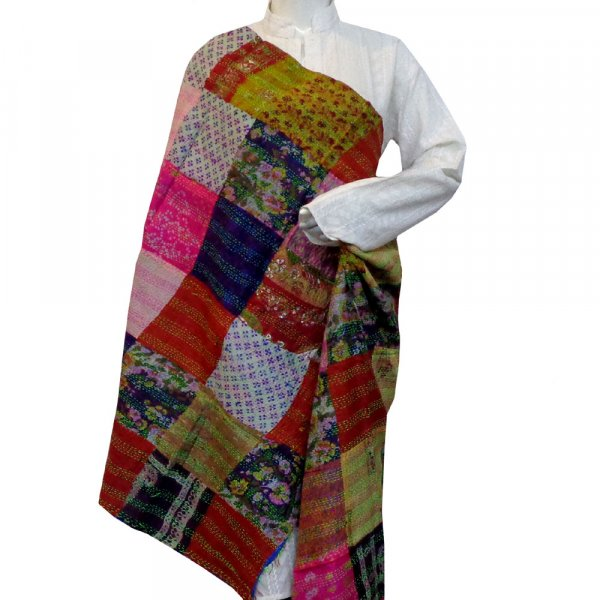 Hand Embroidered Cotton Kantha Silk Stole (Reversible) | 204733