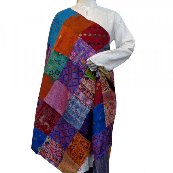 Hand Embroidered Cotton Kantha Silk Stole (Reversible) | 204740