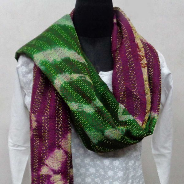 Kantha Silk Stole 7055 hand embroidered (Reversible)