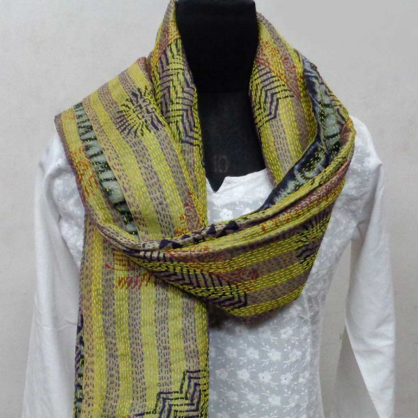 Kantha Silk Stole 7113 hand embroidered (Reversible)