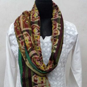 Kantha Silk Stole 7117 hand embroidered (Reversible)