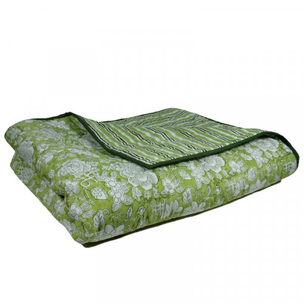 FLORAL CANVAS DARK OLIVE 106873 Summer Quilt King Size