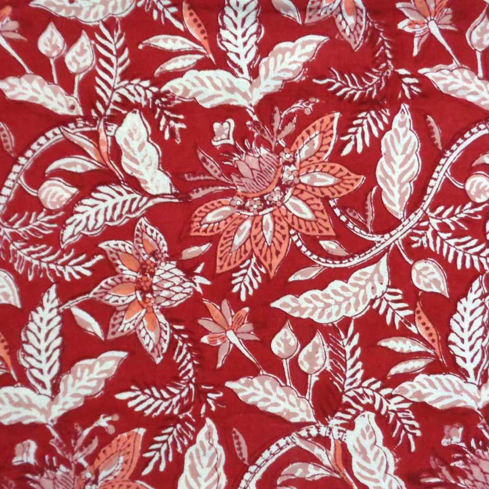 Size 150 x 220 cms Bossanova Red Hand Printed Tablecloth 9260