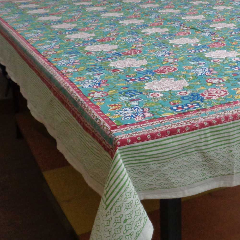 FLORAL CANVAS BLUE JADE 6865 Block Printed Tablecloth 180 x 270 cms