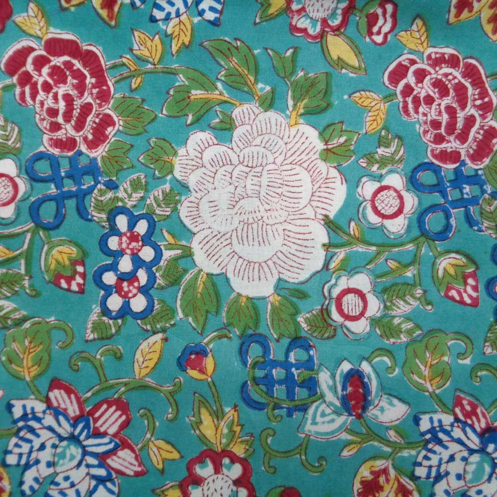 Hand Block Printed Cotton Tablecloth 150x220 cms | Floral Canvas Blue Jade Gud 6865