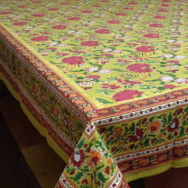 Tablecloth in Cotton Hand Block Printed Flower Blossom Canary 1001