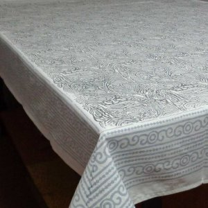 GREY ABSTRACT 1004 Hand Block Printed Tablecloth | Cotton Tablecloth