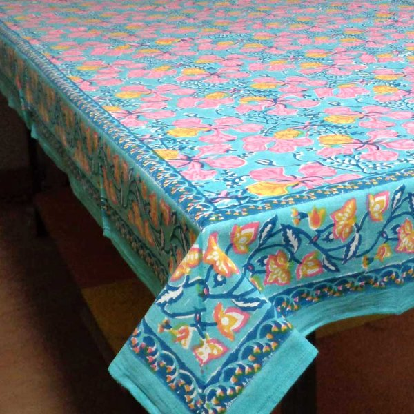 Tablecloth Block Printed in Cotton | Gulmohar Gud 3659