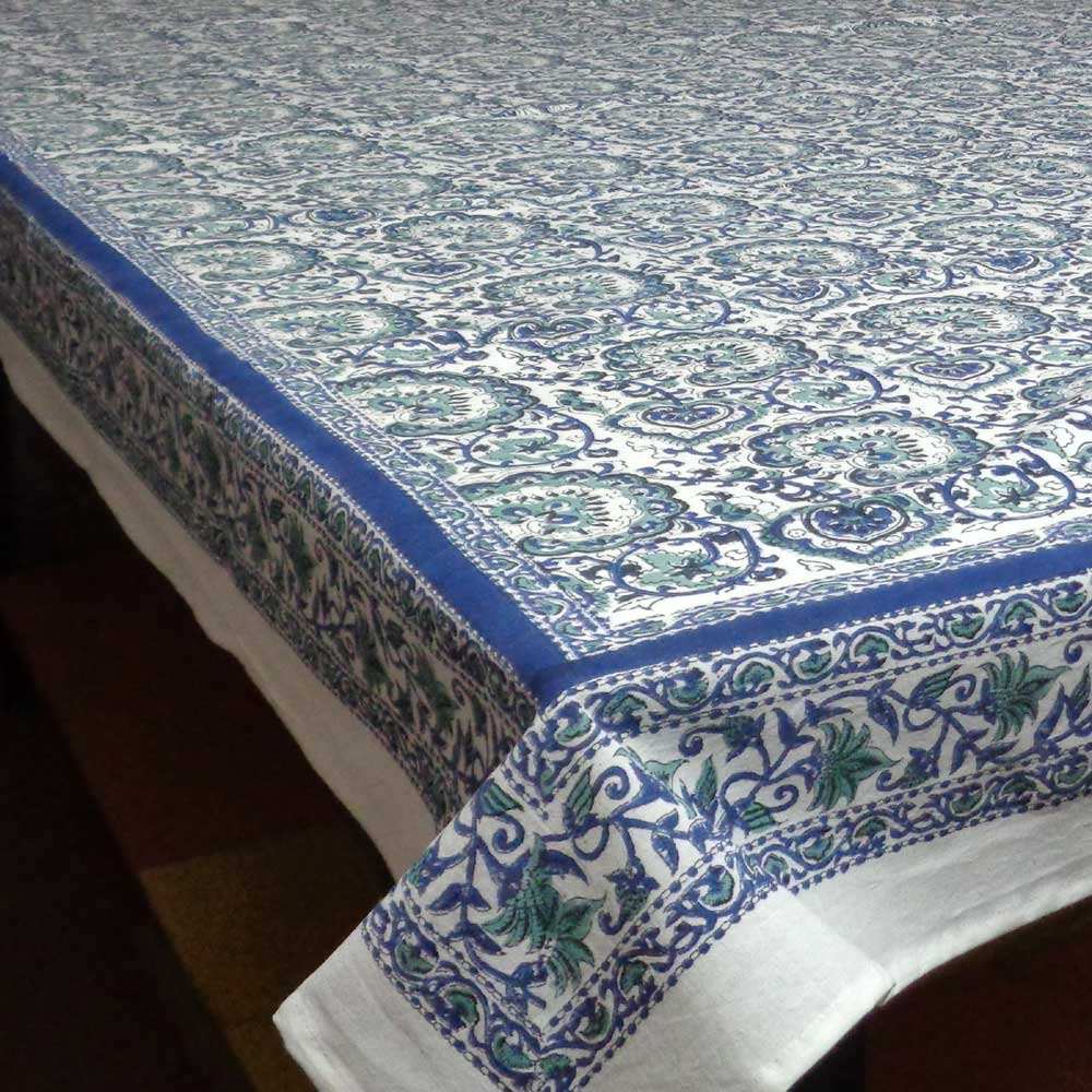 Moroccan Motif Hand Block Printed Tablecloth | Cotton Tablecloth 1002