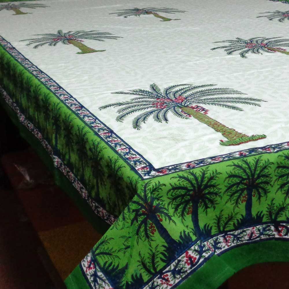 Hand Block Printed Cotton Tablecloth | Palm Tree Jaal 1517