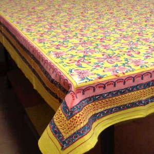 YELLOW CHAKRI 9300 indian fabric Handmade Block Printed cotton tablecloth