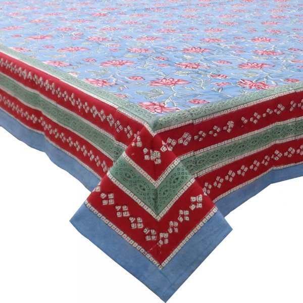 Square Tablecloth in Cotton Hand Block Printed Cotton Tablecloth 150x150 cm | Cornflower Blue Gud 103689