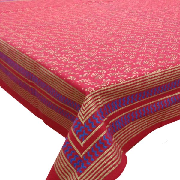 Square Tablecloth in Cotton Hand Block Printed Cotton Tablecloth 150x150 | Khadi Red 0373