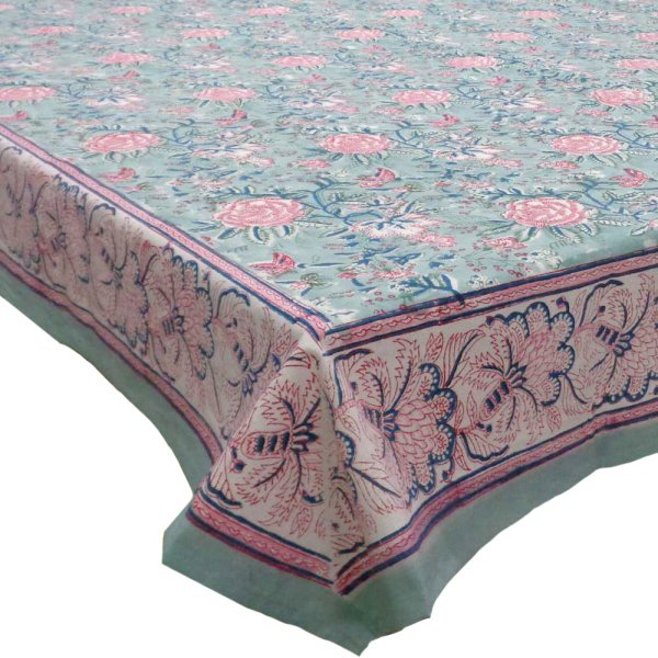 Square Tablecloth in Cotton Hand Block Printed Cotton Tablecloth 150x150 cms | Naya Gulab Gud 106799
