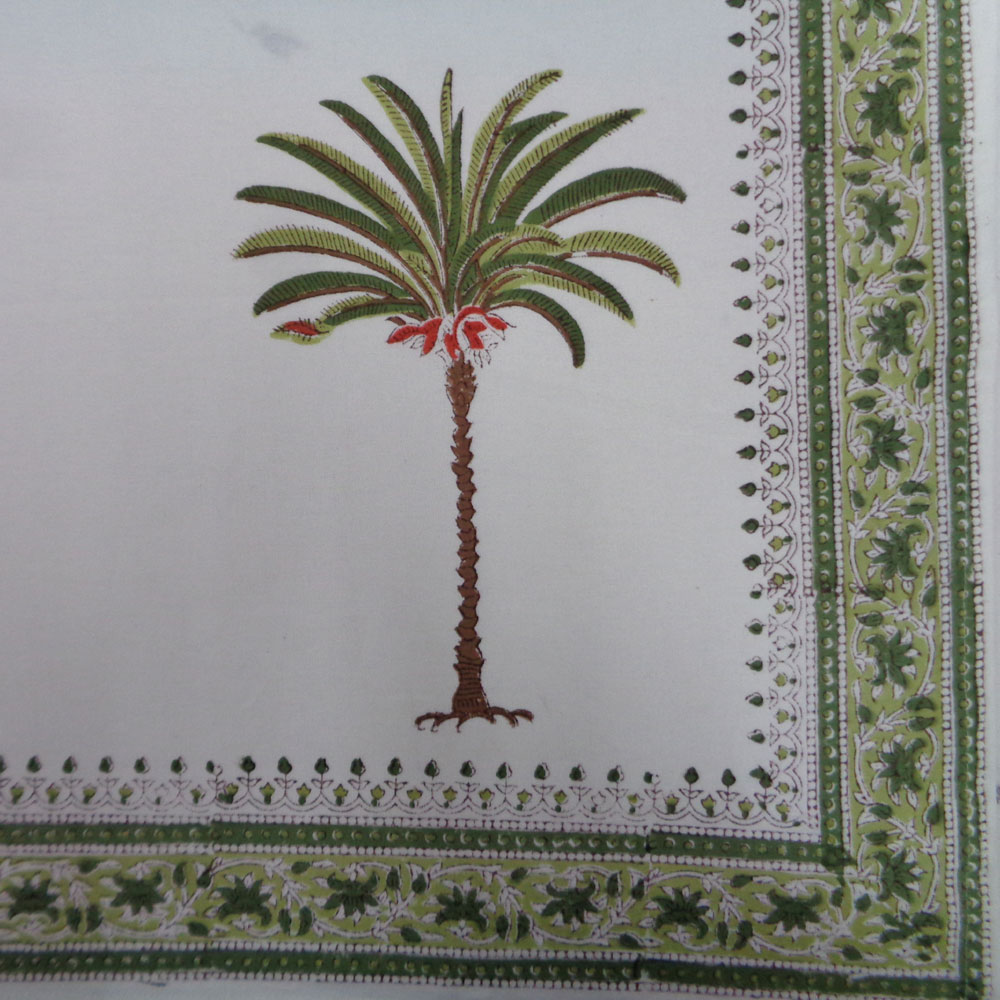 Square Tablecloth in Cotton Hand Block Printed Cotton Tablecloth 220x220 cms | Palm Tree Green 109024
