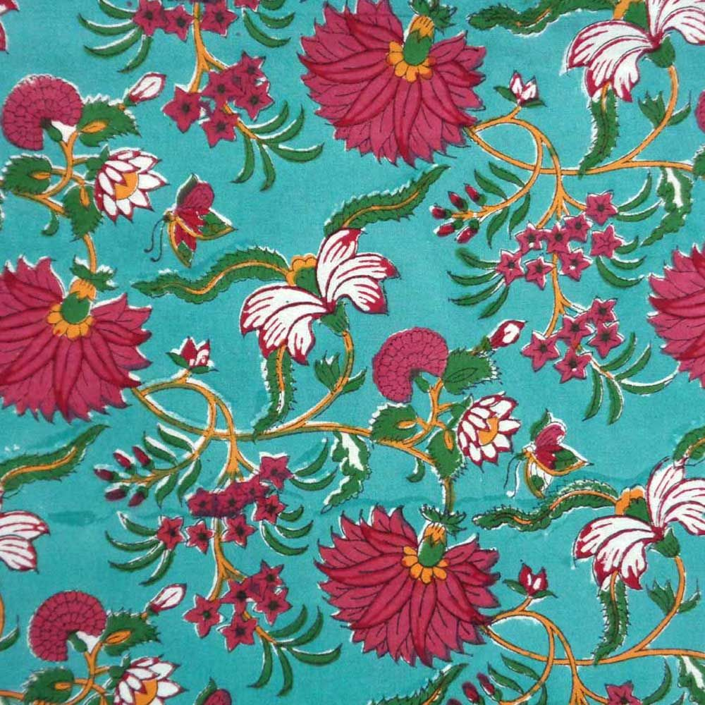 Tablecloth Block Printed in Cotton | Flower Blossom Jade Gud 3459