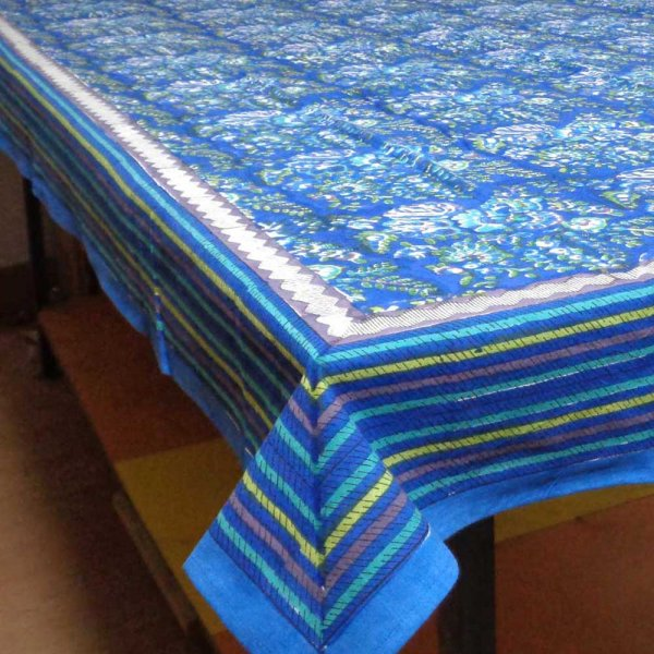 Tablecloth in Cotton Hand Block Printed Sea Plantation 3477