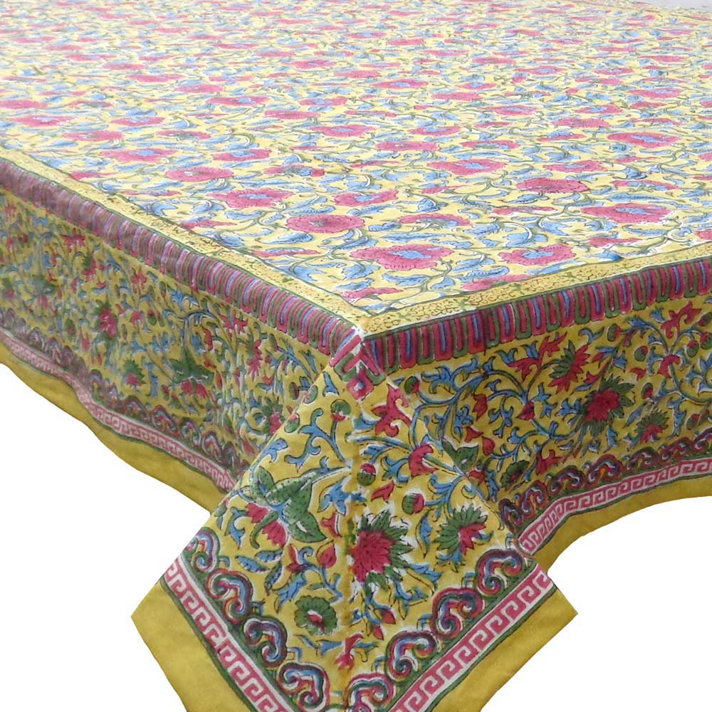 Hand Block Printed Cotton Tablecloth 150x220 cm | Registani Bale Pili 103611