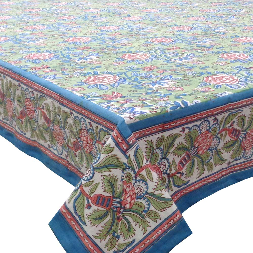 Hand Block Printed Cotton Tablecloth 150x220 cm | Rose Green Gud 103639