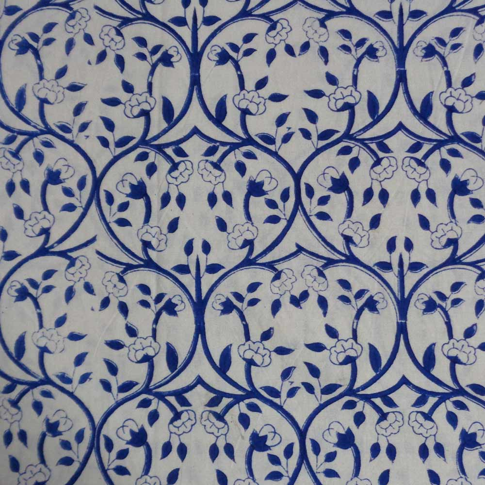 Hand Block Printed Cotton Tablecloth | Vine Leaves Open 10452