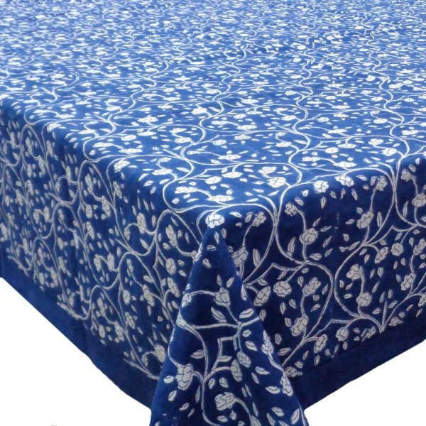 Hand Block Printed Cotton Tablecloth 150x220 | Vine Leaves Gud 104916
