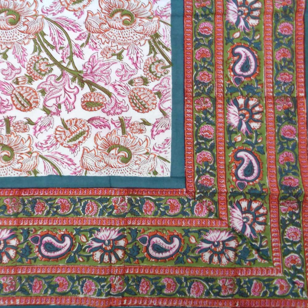 Hand Block Printed Cotton Tablecloth 150x220 | Amarnath Green Open 105202