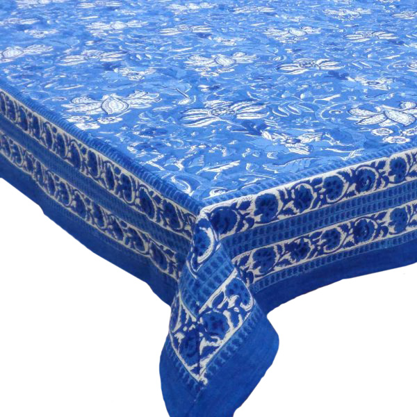 Hand Block Printed Cotton Tablecloth 150x220 | Anarkali Blue Gud 4618