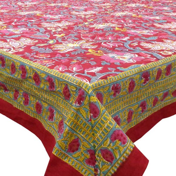Tablecloth 8 seater in Cotton Hand Block Printed Cotton Tablecloth 180x340 cms | Anarkali Red Gud 203425