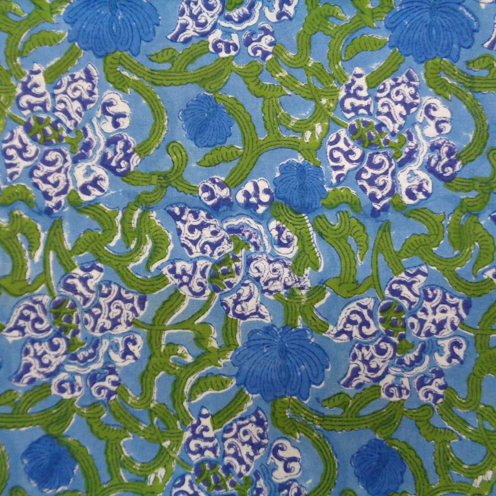 BLUE DAFFODILS GUD 3437 Hand Block Printed Tablecloth