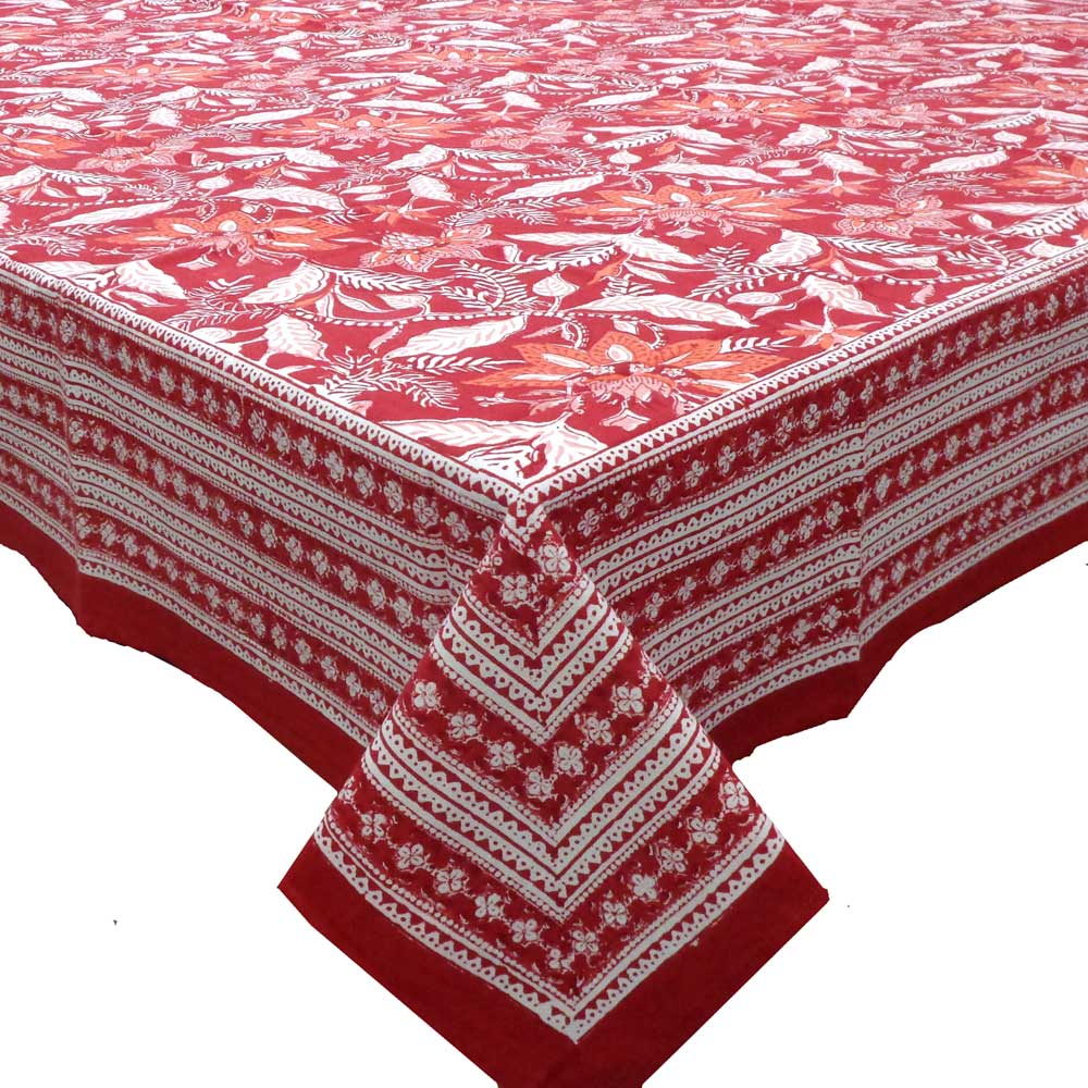 Hand Block Printed Cotton Tablecloth 150x220 cms | Bossanova Red Gud 203183
