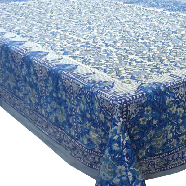 Hand Block Printed Cotton Tablecloth 150x220 | Chokor Dali Blue Open 3449