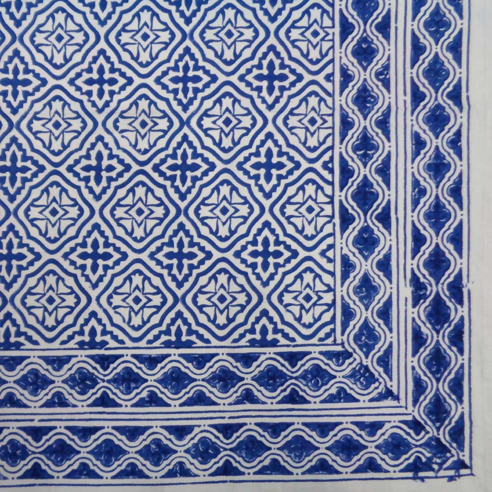 Hand Block Printed Cotton Tablecloth 150x220 | Cross Flower Blue 104922