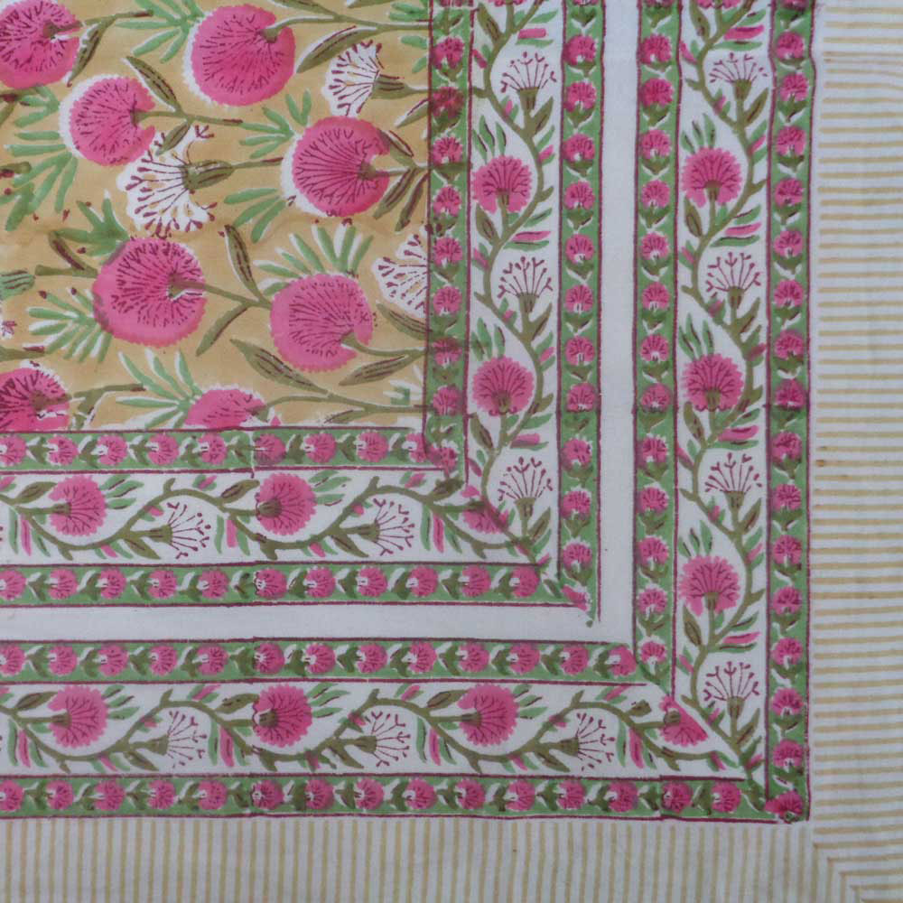 Hand Block Printed Cotton Tablecloth 150x220 cms | Desert Blossom Pink Gud 109653