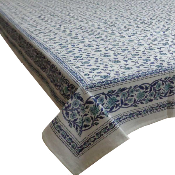 Hand Block Printed Cotton Tablecloth 150x220 cm | Floral Kali Blue 3453