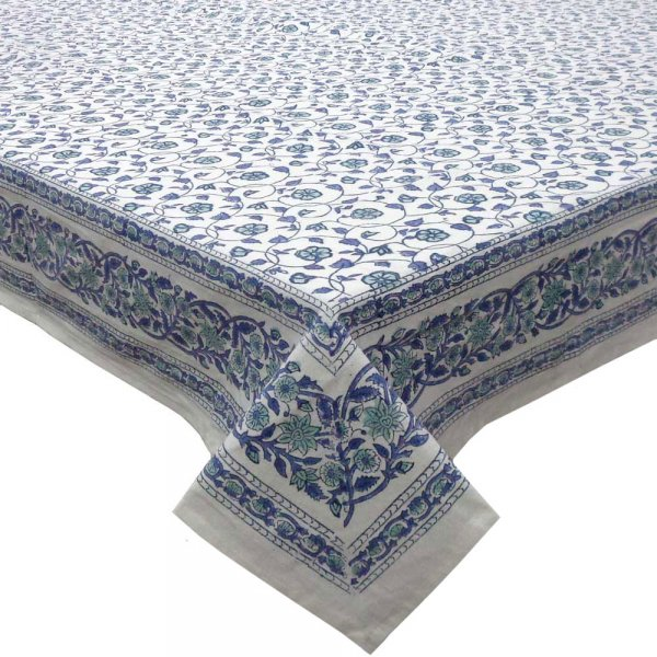 Tablecloth 8 seater in Cotton Hand Block Printed Cotton Tablecloth 180x340 cms | Floral Kali Blue 3453
