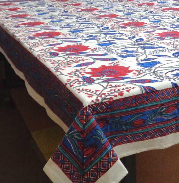 FLOWER BIRD 9224 Tablecloth 180 x 270 cms Hand Block Printed