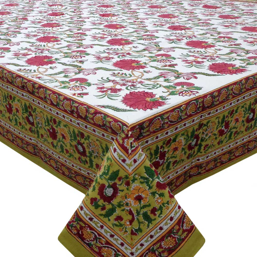 Hand Block Printed Cotton Tablecloth 150x220 cms | Flower Blossom Canary Open 203177