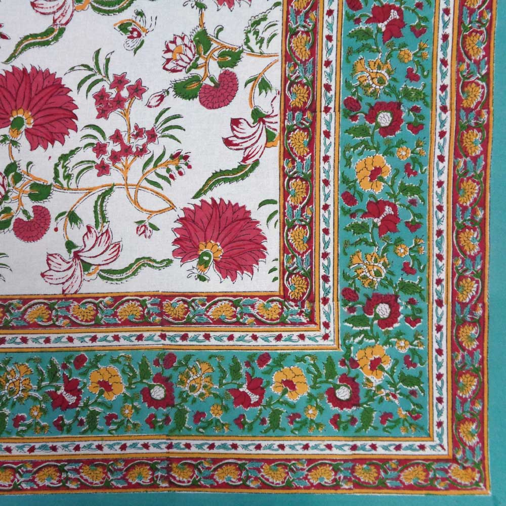 Hand Block Printed Cotton Tablecloth 150x220 | Flower Blossom Jade Open 109122