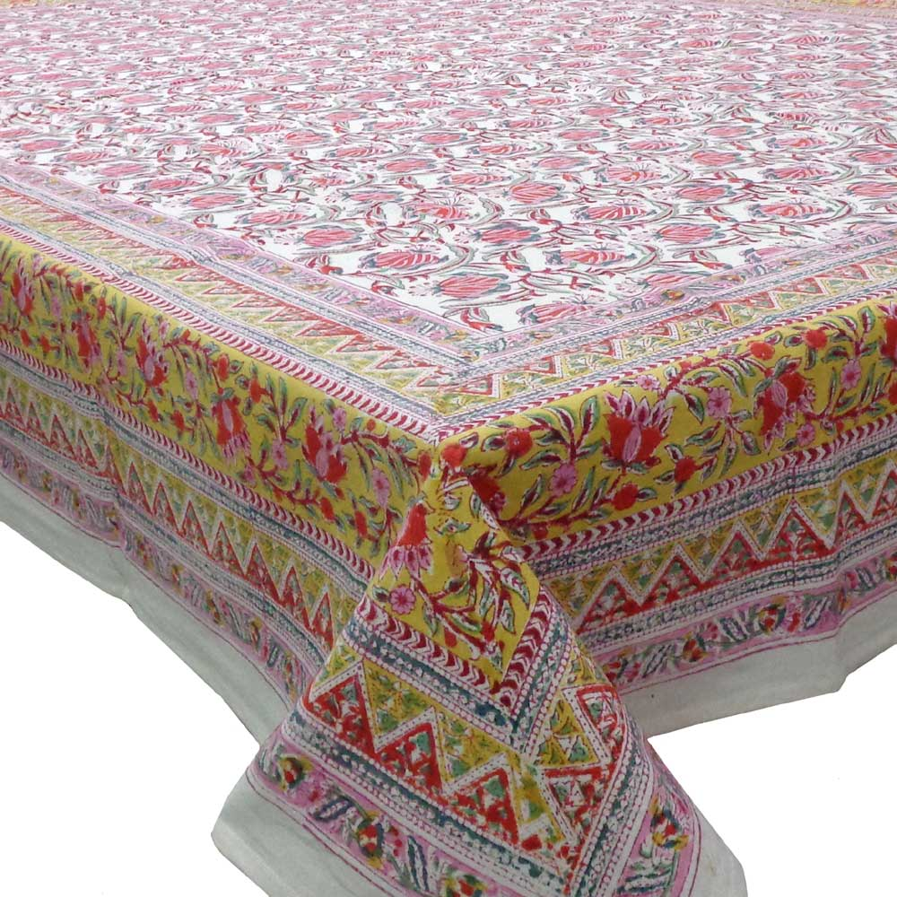 Hand Block Printed Cotton Tablecloth 180x270 cms | Frost Mustard Floral Open 100977