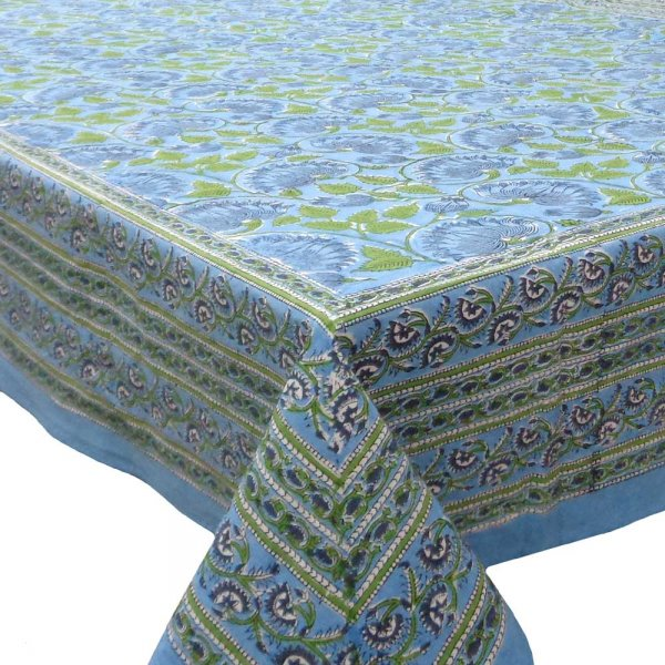 Tablecloth 8 seater in Cotton Hand Block Printed Cotton Tablecloth 180x340 cms | Kamal Aqua Gud 105995