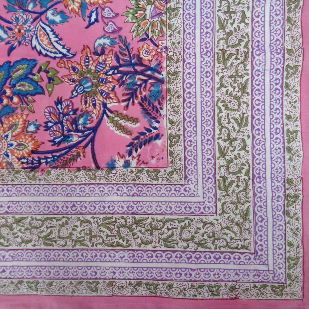 Hand Block Printed Cotton Tablecloth 150x220 cm | Misty Pink Gud 103650