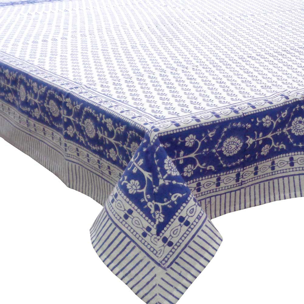 Square Tablecloth in Cotton Hand Block Printed Cotton Tablecloth 150x150 | Neem Estate Blue 10278