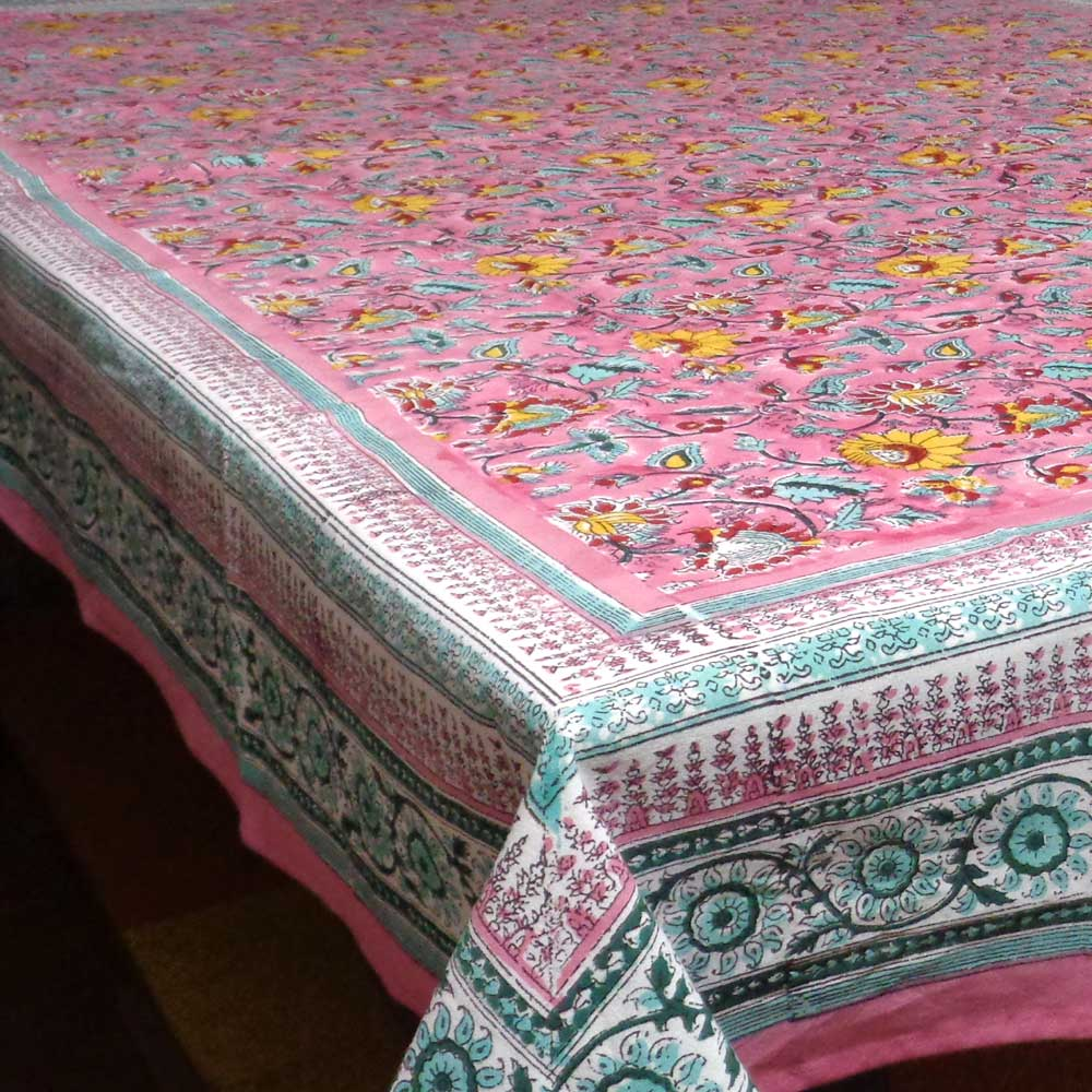 Hand Printed Tablecloth in Cotton | Phuljhari Pink Gud 0895