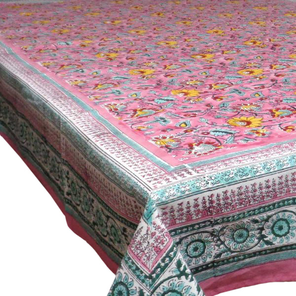 Tablecloth 8 seater in Cotton Hand Block Printed Cotton Tablecloth 180x340 | Phuljhari Pink Gud 0895