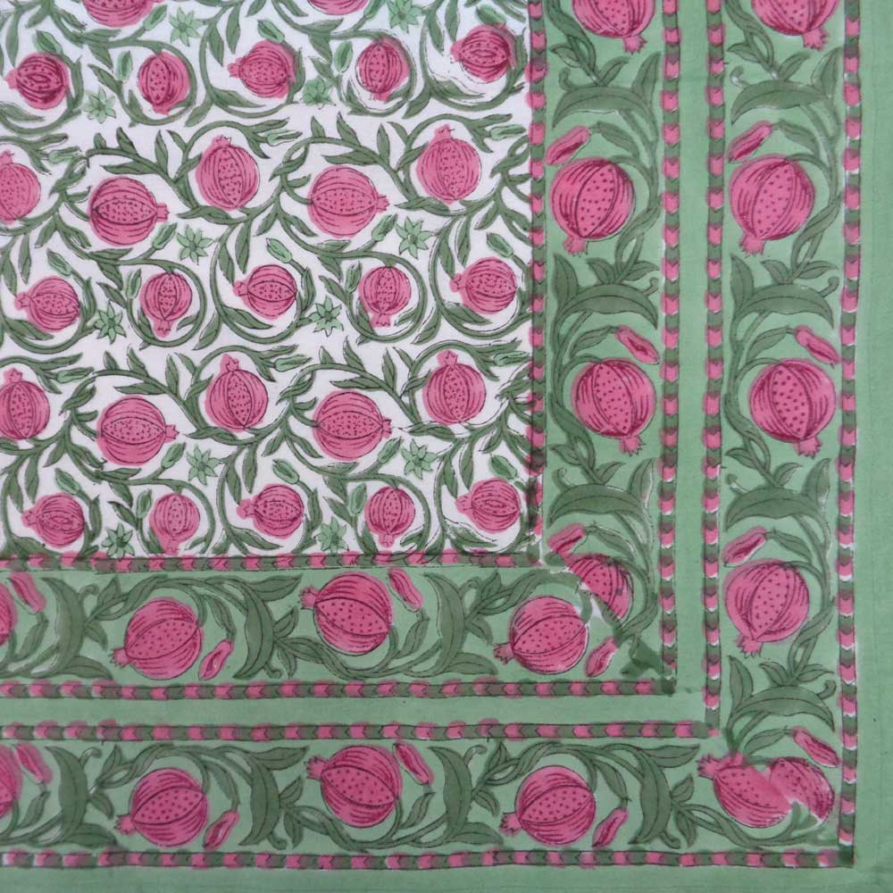 Hand Block Printed Cotton Tablecloth 150x220 cm | Poppy Flower 103623