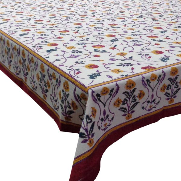 Hand Block Printed Cotton Tablecloth 150x220 | Rangila Phool 109148