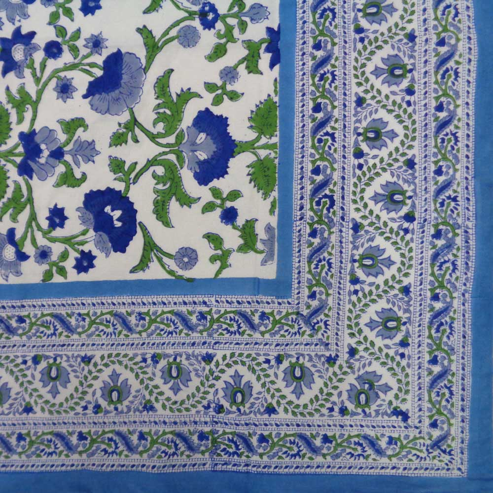 Hand Block Printed Cotton Tablecloth 150x220 cm | Rukhsana Blue Open 103619
